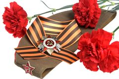 Militair GLB, orde van Grote Patriottische oorlog, bloemen, het lint van Heilige George Stock Foto's