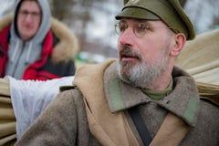 Militair-historische wederopbouw van strijden van tijden van de Eerste Wereldoorlog, Borodino, op 13 Maart 2016 Stock Afbeelding