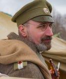 Militair-historische wederopbouw van strijden van tijden van de Eerste Wereldoorlog, Borodino, op 13 Maart 2016 Stock Foto's