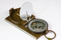 Militair kompas op witte achtergrond Stock Fotografie