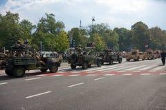 Militair konvooi Poolse krachten in Warshau Stock Afbeelding