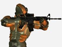 Militair in lichaamspantser met kanon Stock Afbeeldingen