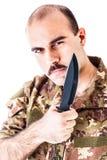 Militair met blad Royalty-vrije Stock Foto