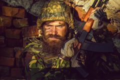 Militair met boos gezicht royalty-vrije stock foto's