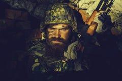 Militair met boos gezicht royalty-vrije stock foto