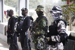 Militair met camouflage Stock Afbeelding