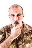 Militair met fluitje stock foto