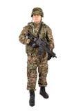 Militair met geweer op een witte achtergrond Royalty-vrije Stock Fotografie