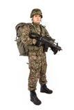 Militair met geweer op een witte achtergrond Stock Foto