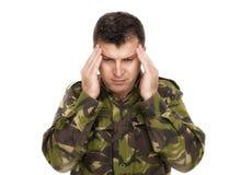 Militair met handen op hoofd Stock Foto's