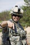 Militair met pistool Stock Foto