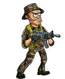 Militair met submachinegeweer Stock Afbeelding