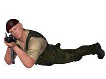 Militair met wapen Stock Foto