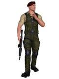 Militair met wapen Stock Afbeelding