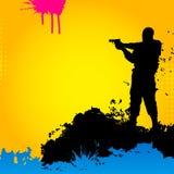 Militair op een abstracte achtergrond Stock Foto's