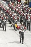 Militair orkest De parade van veteranen van Wereldoorlog II op het Nevsky-Vooruitzicht, St Petersburg, Rusland, 9 Mei, 2013 Stock Foto
