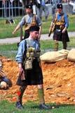 Militair-Reenactors van Schots regiment Royalty-vrije Stock Foto's