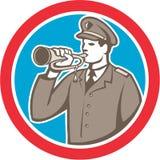 Militair Retro Blowing Bugle Circle stock illustratie