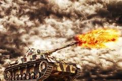 Militair Tanki Firing royalty-vrije stock afbeeldingen