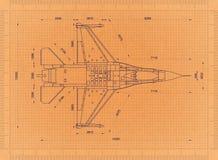 Militair Vliegtuig - Retro Blauwdruk royalty-vrije illustratie