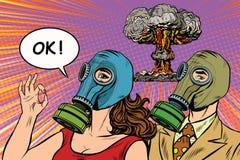 Militaire affiche van het kernoorlog retro pop-art stock illustratie