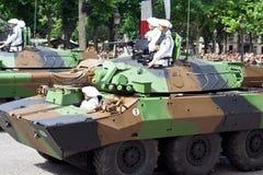 Militaire apparatuur bij een militaire parade stock afbeelding