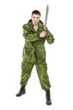 Militaire avec le couteau Images stock