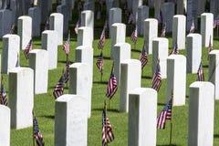 Militaire Begraafplaats met Amerikaanse Vlaggen stock afbeeldingen