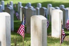 Militaire Begraafplaats met Amerikaanse Vlaggen royalty-vrije stock afbeelding