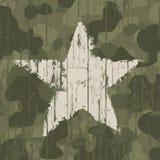 Militaire camouflageachtergrond met ster. Stock Afbeelding