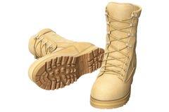 Militaire eenvormige schoenenmilitair, beige Royalty-vrije Stock Afbeeldingen