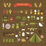 Militaire en geplaatste oorlogspictogrammen Infographic leger Royalty-vrije Stock Foto's