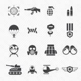 Militaire en oorlogspictogrammen Stock Foto's