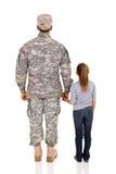Militaire et fille Photographie stock libre de droits