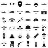 Militaire geplaatste middelenpictogrammen, eenvoudige stijl Royalty-vrije Stock Foto