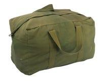 Militaire groene canvasduffel zak Stock Foto