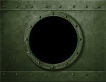Militaire groene gepantserde patrijspoort of venstermetaalachtergrond Royalty-vrije Stock Foto's