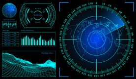 Militaire groene radar Wireframelandschap Het scherm met doel Futuristisch Hud Interface De VectorIllustratie van de voorraad Stock Afbeeldingen