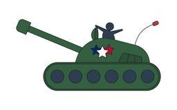 Militaire het leger grote die tank van de beeldverhaalolijf op witte achtergrond wordt geïsoleerd Royalty-vrije Stock Foto