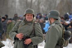 Militaire historische wederopbouw van Wereldoorlog II Stock Foto's