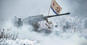 Militaire historische wederopbouw van Wereldoorlog II Royalty-vrije Stock Afbeelding
