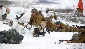 Militaire historische wederopbouw van Wereldoorlog II Royalty-vrije Stock Foto's