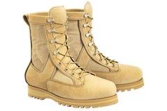 Militaire laarzen met beige schoenveter, Royalty-vrije Stock Afbeelding