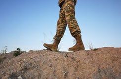 Militaire laarzen voor mensen Worden gebruikt voor materiaal en speciale strijdkrachten details stock foto