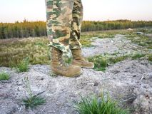 Militaire laarzen voor mensen Worden gebruikt voor materiaal en speciale strijdkrachten details royalty-vrije stock foto