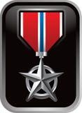 Militaire medaille op zilveren frame pictogram Stock Afbeeldingen