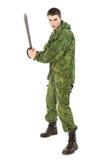 Militaire Mens met Mes Stock Foto