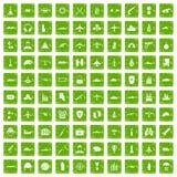 100 militaire middelenpictogrammen geplaatst grunge groen Stock Afbeeldingen