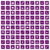 100 militaire middelenpictogrammen geplaatst grunge purple Royalty-vrije Stock Foto