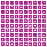 100 militaire middelenpictogrammen geplaatst grunge roze Stock Fotografie